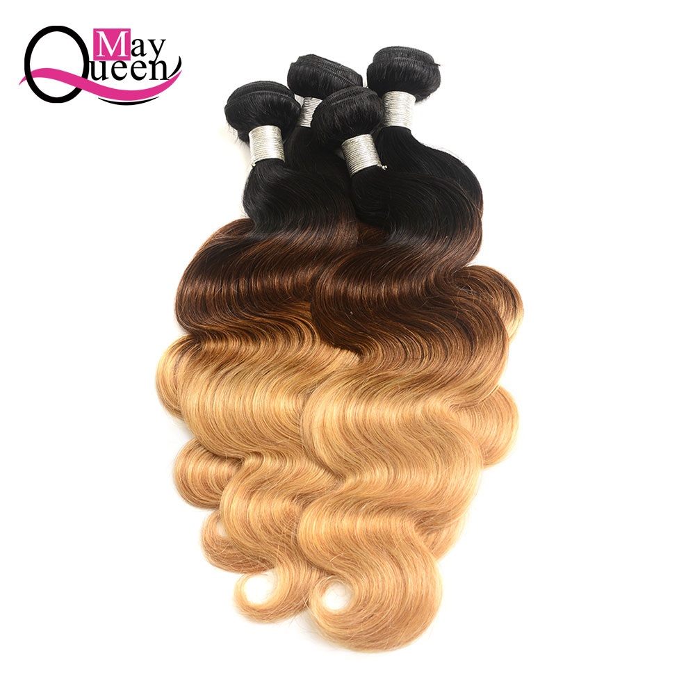 May Queen Hair Ombre Brazilian Body Wave 3&4Pieces T1B/4/27 Three Tone Color Remy Hair Extensions 100% Human Hair Weave Bundles