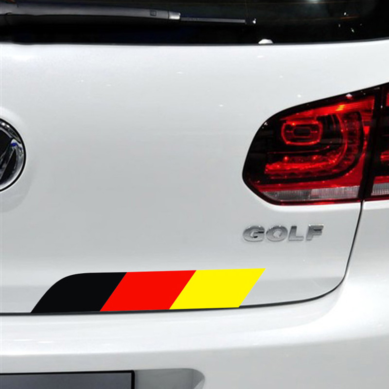 BLACK+RED+YELLOW Stripe car tail decor sticker for AUDI/VW/BENZ and so on,fashion car decals glue sticker cover