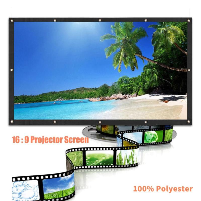 ALLOYSEED Portable 60/72/84/100/120 inch 3D HD Wall Mounted Projection Screen Canvas 16:9 LED Projector Screen For Home Theater 16