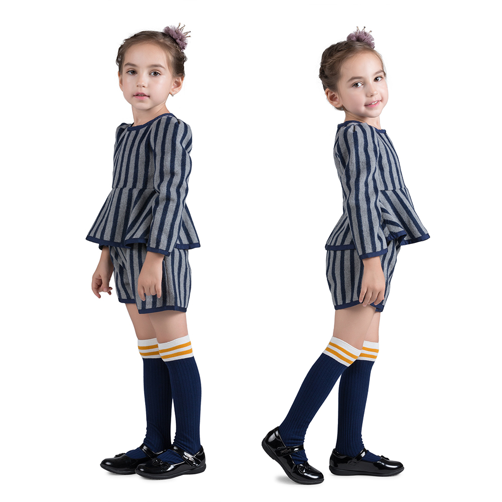 Autumn Winter Costume Baby Girls Thicken Child Stripped Long Sleeves Shorts 2pcs Children Clothing Sets Children Clothes high quality fashion girls clothing sets lady style sweatshirt shorts 2pcs autumn winter baby girls clothes set 2015 brand new