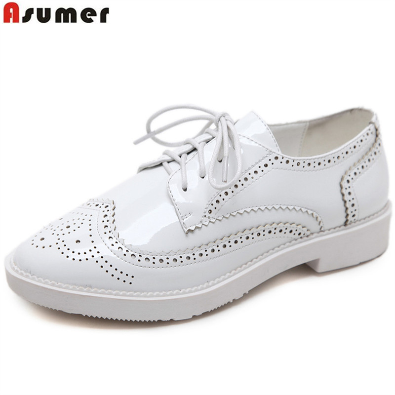 ASUMER black brown fashion spring autumn flat shoes woman round toe casual comfortable lace up patent leather women flats asumer black white fashion spring autumn casual ladies flat platform shoes round toe lace up genuine leather flat shoes women