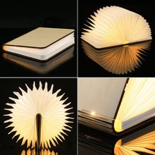 USB Rechargeable LED Foldable Wooden Book Shape Desk Lamp Nightlight Booklight for Home Decor Warm White Light Drop Shipping(China)