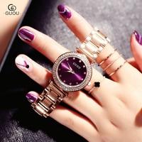 GUOU Watch Women Exquisite Top Luxury Diamond Quartz Lady Watch Fashion Stainless Steel Female Wristwatch Saat
