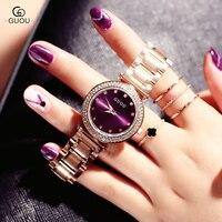 GUOU Watch Women Exquisite Top Luxury Diamond Quartz Lady watch Fashion Stainless Steel female Wristwatch saat relogio feminino