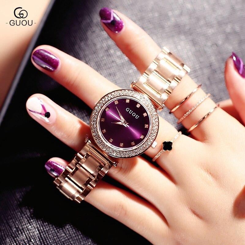GUOU montre femmes exquis Top luxe diamant Quartz dame montre mode en acier inoxydable femme montre-bracelet saat relogio feminino