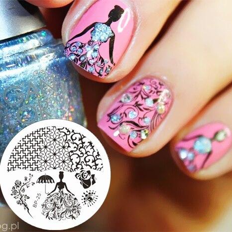Rose Reine Thème Nail Stamping Plaques Nail Art Stamp Template Image Plaque NÉS JOLIE BP25