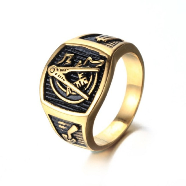 0561a035617d3 US $4.07 23% OFF|Gold Tone Freemason Men's Ring Free Mason 316L Stainless  Steel Masonic Ring Men's Jewelry-in Rings from Jewelry & Accessories on ...