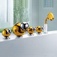 Бесплатная доставка Товары для ванной твердой латуни золочение закончил 5 шт. 5 отверстий ванна кран bf110