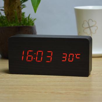 Moda alarm drewniany zegary z termometrem prosty prostokątny stół zegary LED kontrola dźwięku dekoracja stołu zegar tanie i dobre opinie FiBiSonic Bambusowe i drewniane Kalendarze Luminova 1299 Fala ruch Kontrola akustyczna sensing 40mm DIGITAL Krótkie Plac