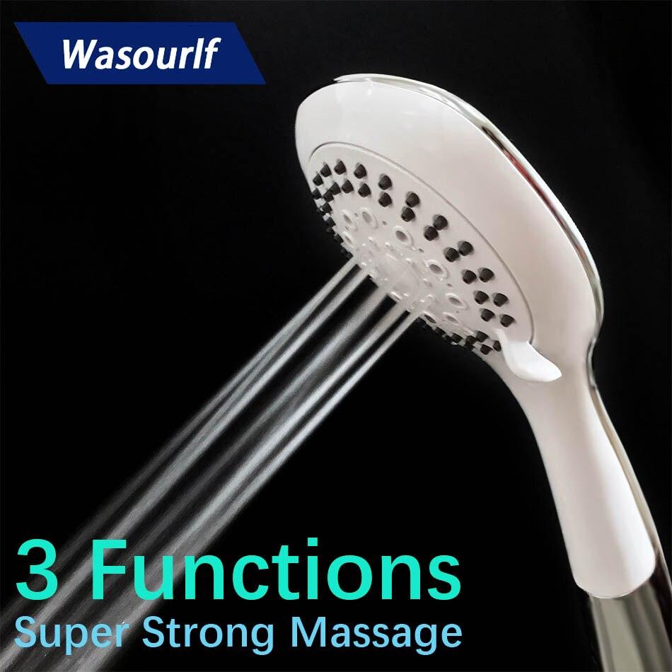 WASOURLF water saving hand hold shower head 3 functions spray chrome white Water massage Spa Europe Australia Russia
