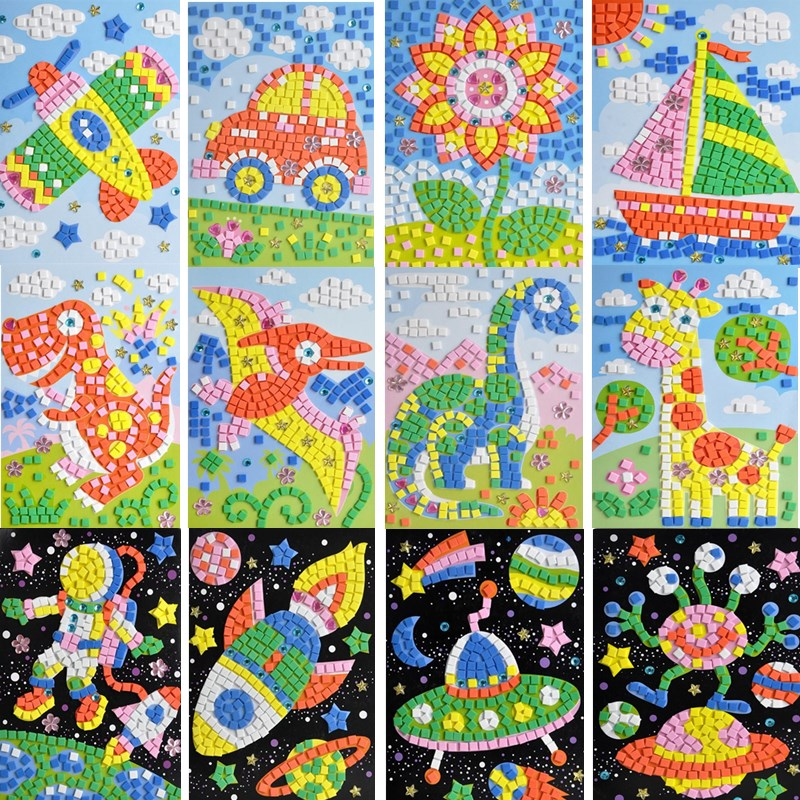 Handmade 3D Children Mosaicos DIY Foam&Crystal Stickers Art EVA Cartoon Animal Dinosaur Creative Educational Toys For Kids
