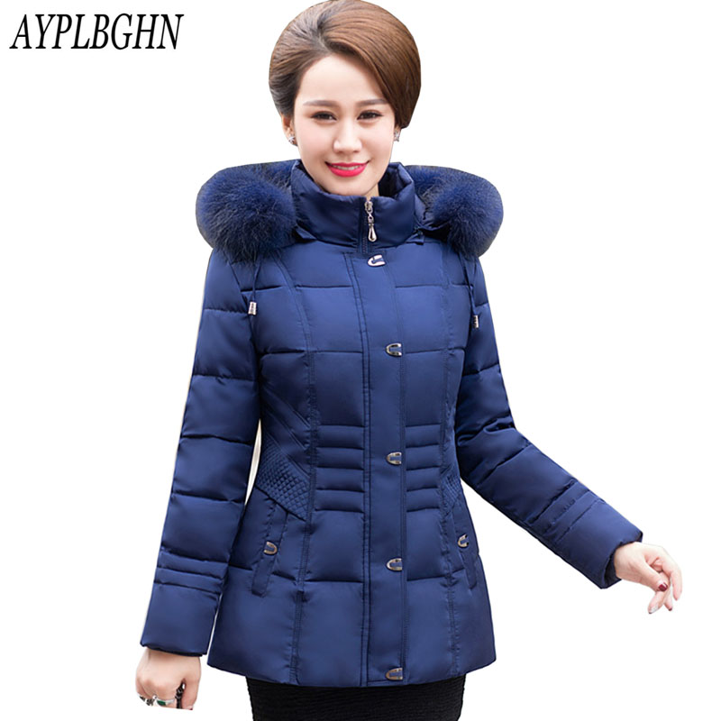 Winter Jackets And Coats 2017 Womens Thick Warm Down Cotton Padded   Parkas   For Women's Winter slim Jacket Female Coats Plus size