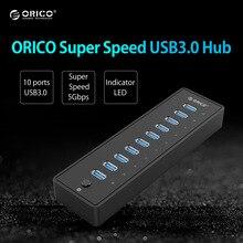 ORICO P10-U3 HUB USB 5 5gbps 10 Puertos USB3.0 HUB con VL812 12V4A EU/UK Adaptador de Corriente para Las Ventanas 8/Mac/Notebook/Ultrabook