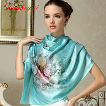 DANKEYISI Scarf Shawl Long-Printed Women 100%Mulberry Luxury Brand Beach-Cover-Ups Silk