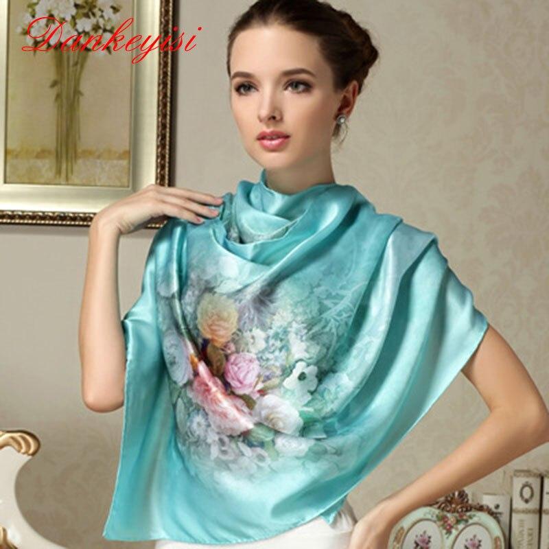 DANKEYISI 100% Mulberry Long Scarf Women Silk Scarf Luxury Brand Scarf Shawl Silk Scarves Long Printed Shawls Beach Cover-ups(China)