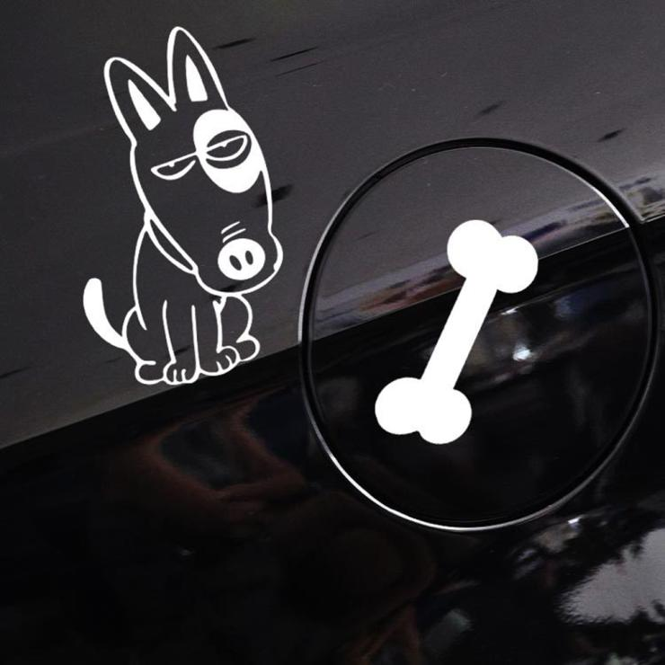 Funny Car Stickers Dog And Bone Car Fuel Tank Decal For Chevrolet Cruze Lada Nissan Peugeut Smart Fortwo Golf 7 Mazda 6 Polo Kia