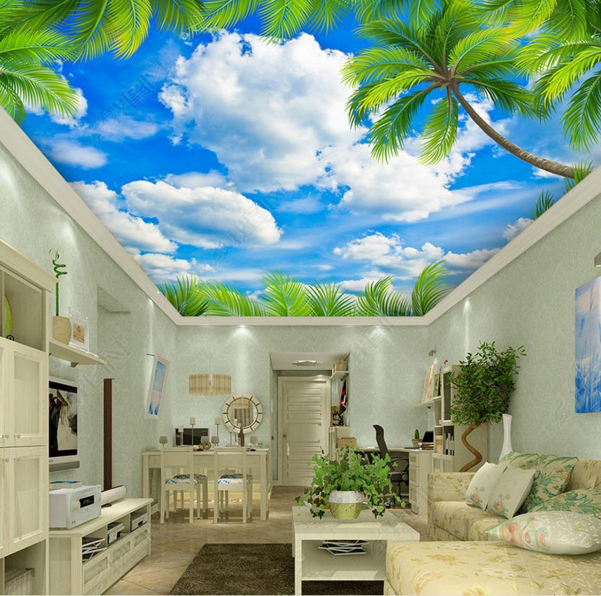 customize Leaves blue sky and white clouds 3d ceiling murals wallpaper Living room bedroom custom ceiling wallpaper blue sky and white clouds murals for the living room apartment ceiling background wall vinyl wallpaper