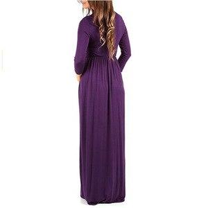 Image 5 - Vestidos largos de embarazo para embarazadas, ropa lisa y recta, maternidad, Primavera