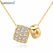 LUOTEEMI Fashion Vogue Popular One Big Another Small Double Circle Necklace AAA Zircon Gold Color Fit For Young Maturity Female