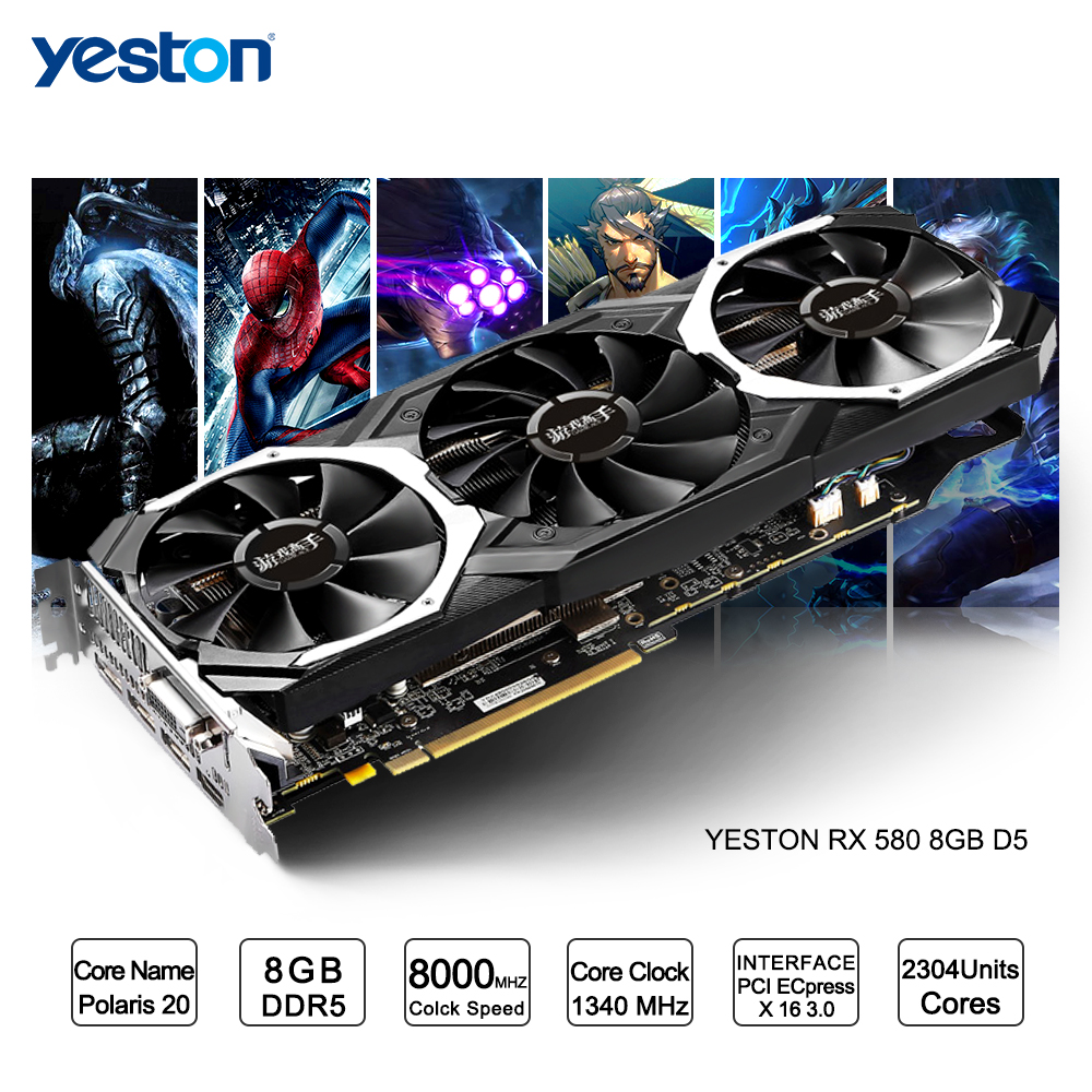 Yeston Radeon RX 580 GPU 8GB GDDR5 256 bit Gaming Desktop computer PC Video Graphics Cards