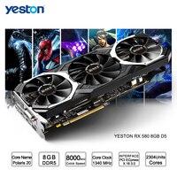 Yeston Radeon RX 580 GPU 8 ГБ GDDR5 256 бит игровой настольный компьютер PC Видео видеокарты Поддержка DVI/HDMI