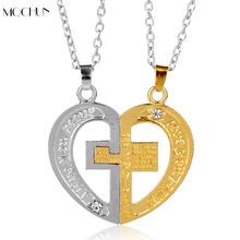 MQCHUN New Design Jewelry 2PCS I Love You Heart Cross Pendant Necklace His And Her Necklaces For Lovers Valentine's Day Gifts r m stults i love her all day long