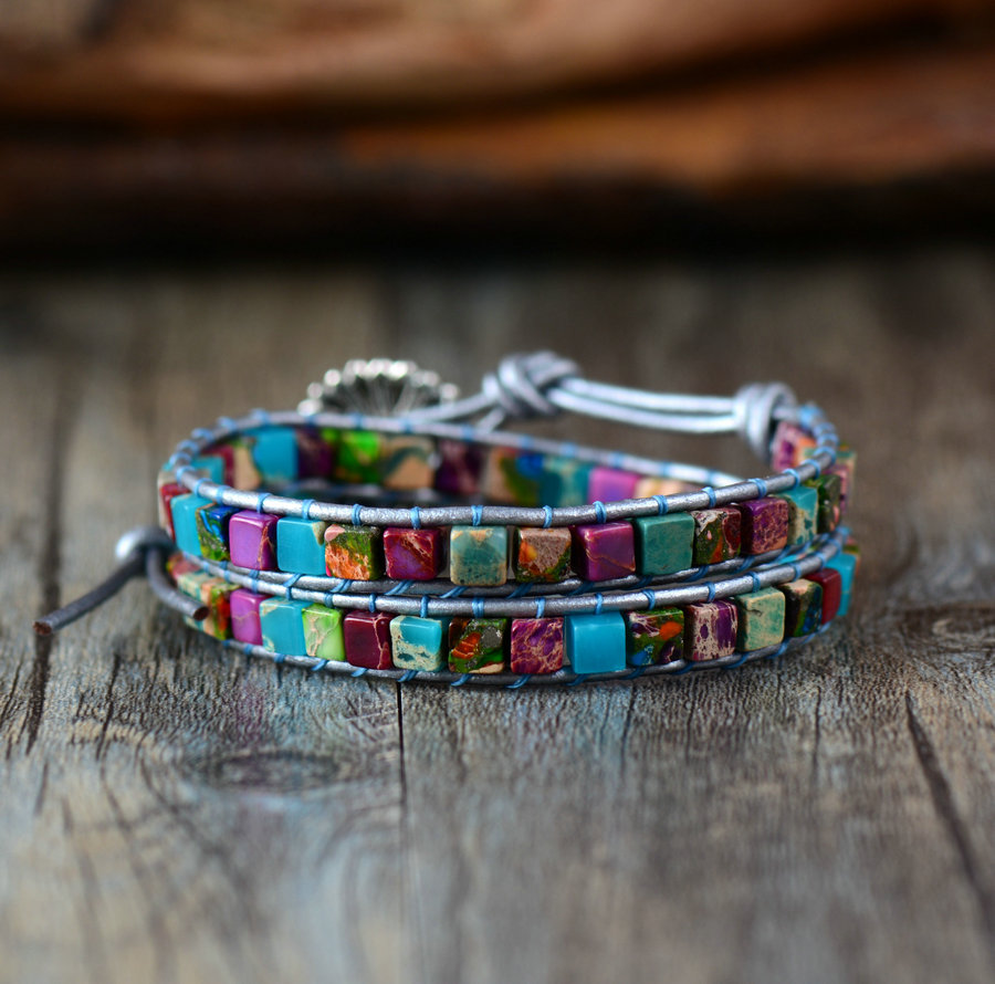 Boho Women Bracelet High Quality Mix Natural Stone 2 Strands Leather Wrap Bracelets Vintage Weaving Bead Handmade In From Jewelry