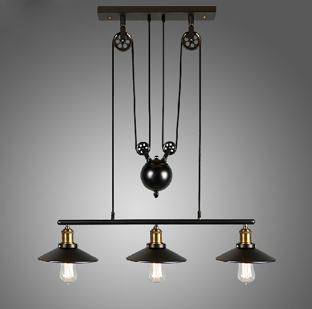 RH Loft  Vintage Iron Industrial LED American Country Pulley Pendant Lights Adjustable Wire Lamp Retractable Lighting 110V-240V single head vintage iron rh loft industrial led american country pulley pendant lampls adjustable wire retractable bar lighting