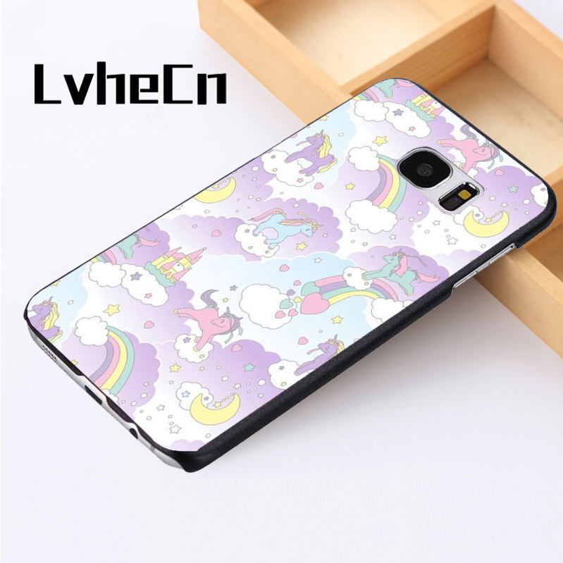 LvheCn phone case cover For Samsung Galaxy S3 S4 S5 mini S6 S7 S8 edge plus Note2 3 4 5 7 8 Unicorn Rainbows Colourful Fairytale