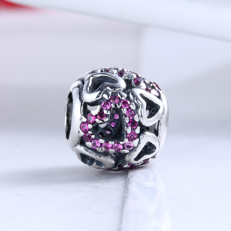 100% 925 Sterling Silver Fit Original Pandora Bracelet Fancy Pink Falling in Love Openwork Charms Beads for Jewelry Making