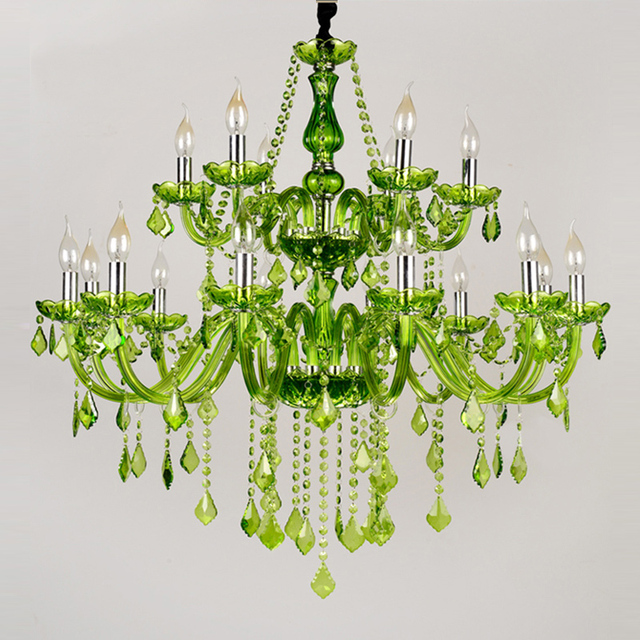Hotel Restaurant Colored Gl Chandeliers 18 Arms Large European Green Crystal Chandelier Candle Lamp Room