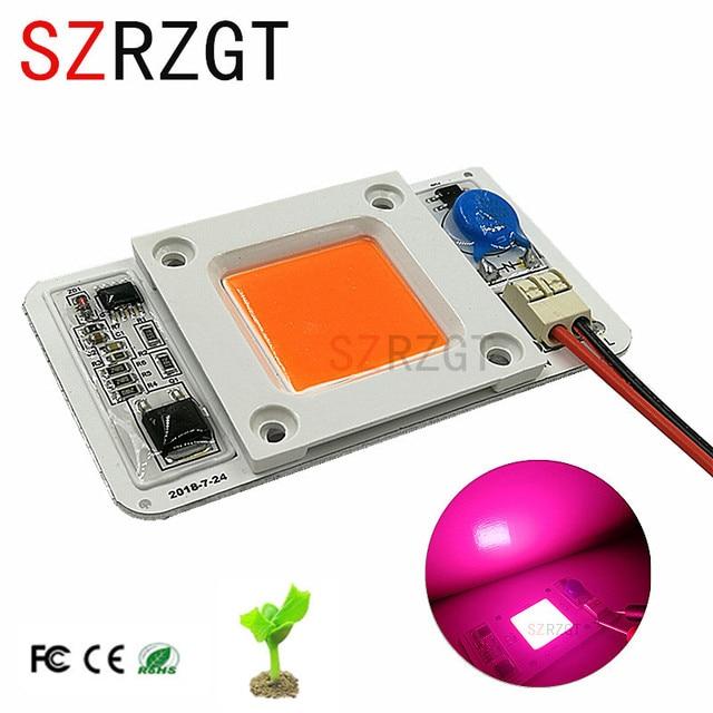 NEW SZRZGT 1PCS 110V/220V 50w cob led grow light chip full spectrum 380nm-840nm for Indoor Plant Seedling Grow and Flower