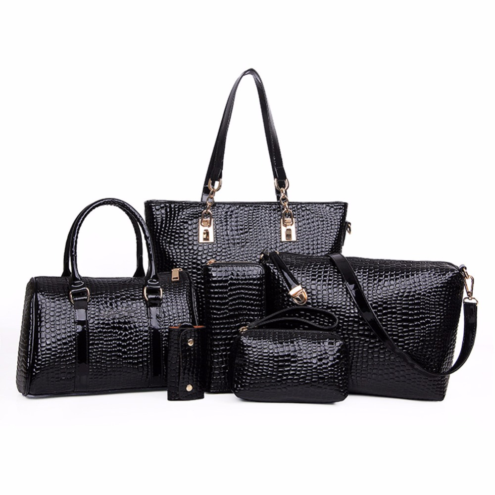 Famous Brand Women Bag Handbag Crocodile Crossbody Bag Shoulder Messenger bags Clutch Tote+Purse 6 SET Fashion Composite Bag 2016 fashion famous brand handbag folding clutch purse evening party leather women shoulder messenger bag bb0808