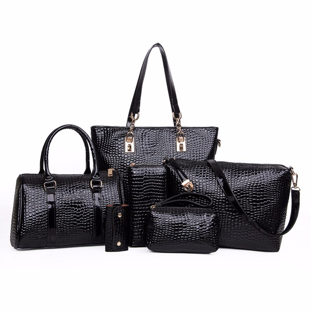 Famous Brand Women Bag Handbag Crocodile Crossbody Bag Shoulder Messenger bags Clutch Tote+Purse 6 SET Fashion Composite Bag