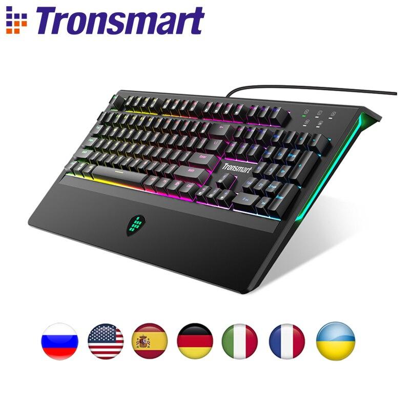 Tronsmart TK09R Mechanische Tastatur Gaming Tastatur USB Tastatur 104 Schlüssel mit RGB Backlit, Makro, blau Schalter für Gamer, dota 2