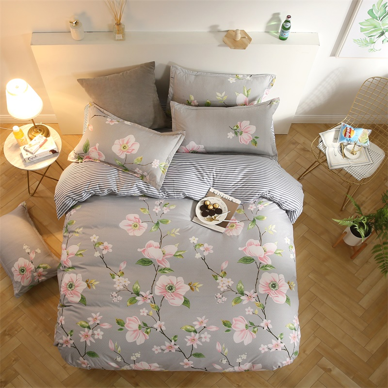 Gray bedding with Pink/White Flower Green Leaf Beautiful 4pcs Bedding set /Bedclothes/ Floral Plant Pillowcases Strip Bed Sheet