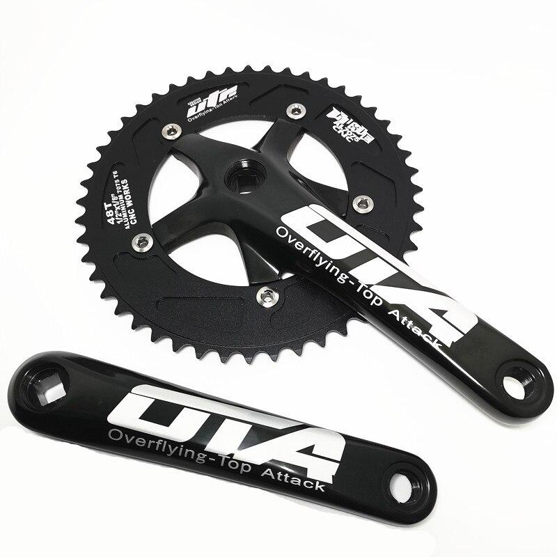 Q738 OTA Bicicleta placa dentária retro campo de liga de alumínio de corrida 48 T CNC manivela única velocidade do carro Bicicleta Crank & roda dentada