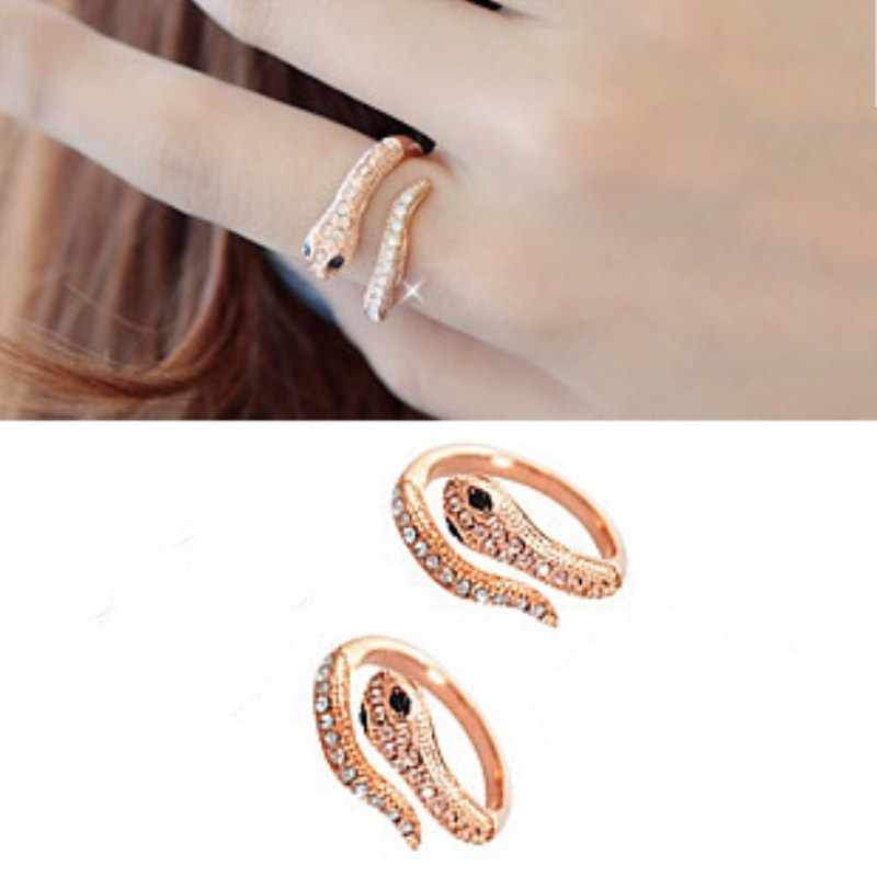 C439 European Men Punk Anillo Knuckle Fashion Vintage Crystal Snake Cross Open Finger Rings For Women Wedding Jewelry Gift