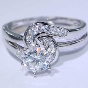 Image 2 - Newshe 2 pçs anel de casamento conjunto 1.5 ct 6 prong ajuste aaa cz sólido 925 prata esterlina noivado anéis na moda jóias para mulher