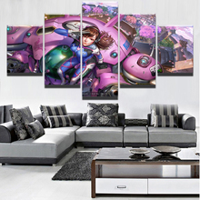 5 Panel D.Va Overwatch Landscape Architecture Game Poster Modern Canvas Print Picture Decor Wall Art Painting On Artwork