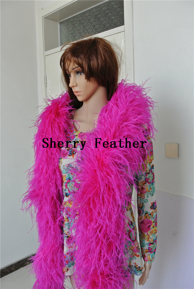 Free shipping 1 pcs 12 ply thickness hot pink Ostrich Feather Boa for dress decor craft