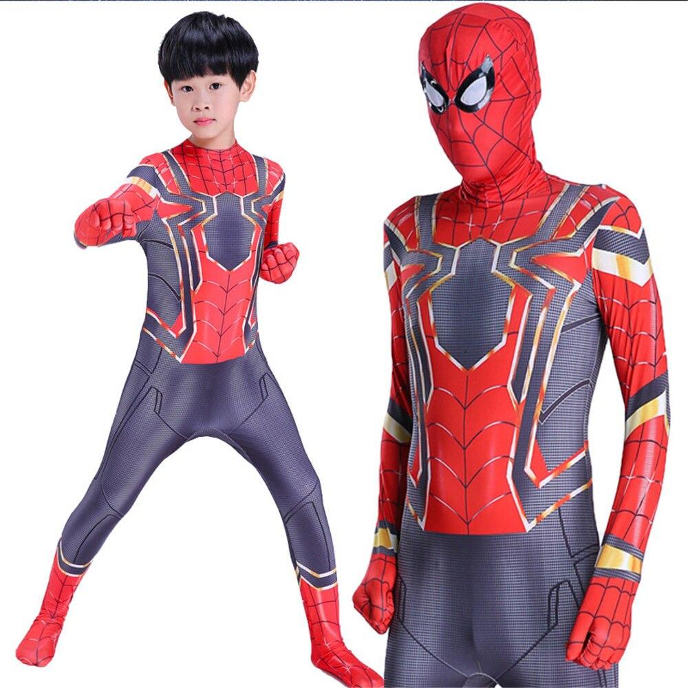 Analytisch Kids Adult Homecoming Spiderman Cosplay Zentai Iron Spider Man Kostuum Superhero Bodysuit Pak Jumpsuit Jongen Kinderen