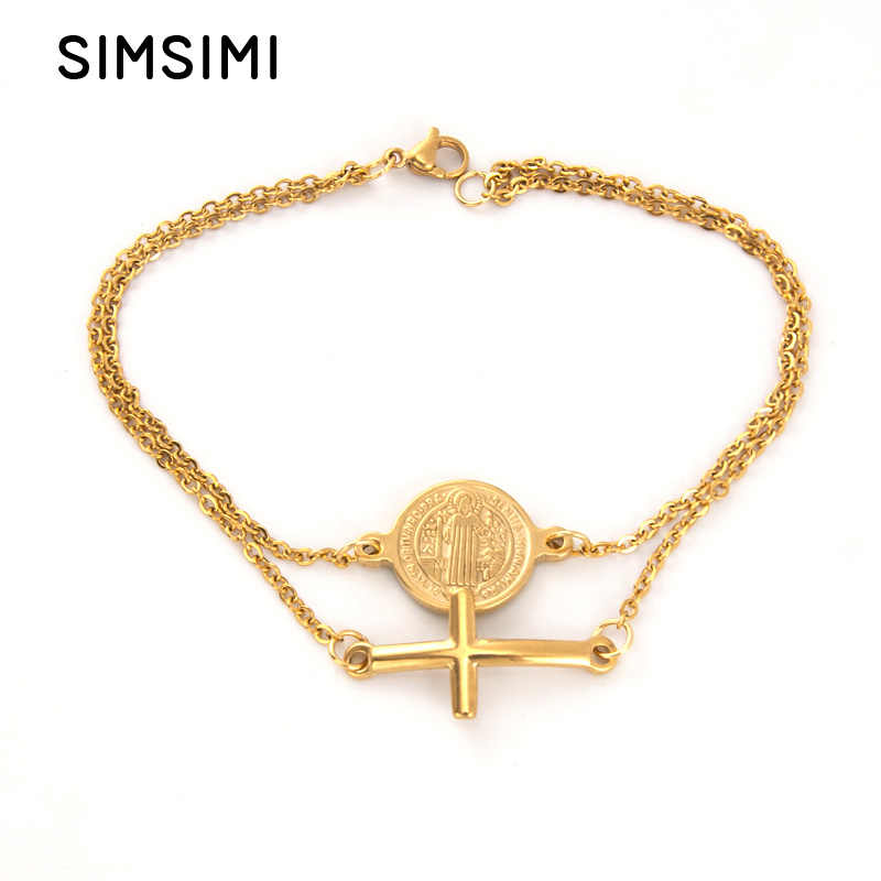 Simsimi double layers Saint Benedict and Cross charm golden Bracelet Women jewelry Rolo chain Stainless steel female bracelets