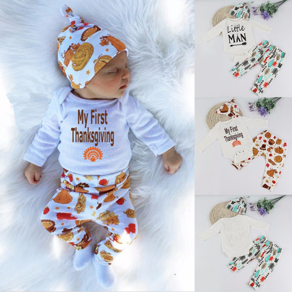 2017 Spring Baby Boy Clothes Set My First Thanksgiving Romper+Trousers+Hat 3pcs Outfit Suit Newborn Toddler Boys Clothing Set baby boys clothes set 2pcs kids boy clothing set newborn infant gentleman overall romper tank suit toddler baby boys costume