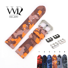 Rolamy 22 24mm Camo Orange Grey Waterproof Silicone Rubber Replacement Wrist Watch Band Loops Strap For Panerai Luminor