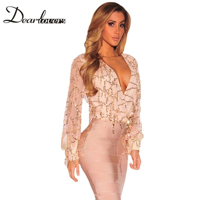 Dear lover Autumn 2017 Sexy Long Sleeve Tops For Women Apricot Flowing Sequins Bodysuit Top T-Shirt V Neck Women LC32082