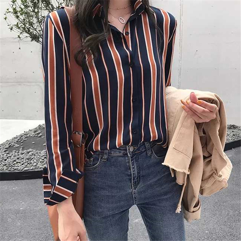 Women   Blouse     Shirts   2018 Spring Autumn Womens Striped   Blouses   Long Sleeve Office Lady   Shirt   Female Blusas Feminino