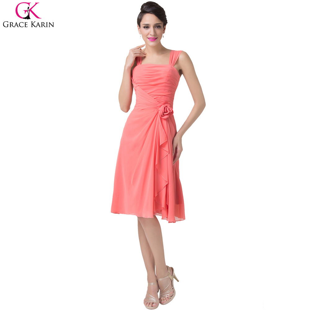 7a54ee118bba9 Cheap Grace Karin Lace Up Open Back Chiffon Knee Length Short Coral Bridesmaid  Dresses Spaghetti Strap Formal Dress 2015 CL6215-in Bridesmaid Dresses from  ...