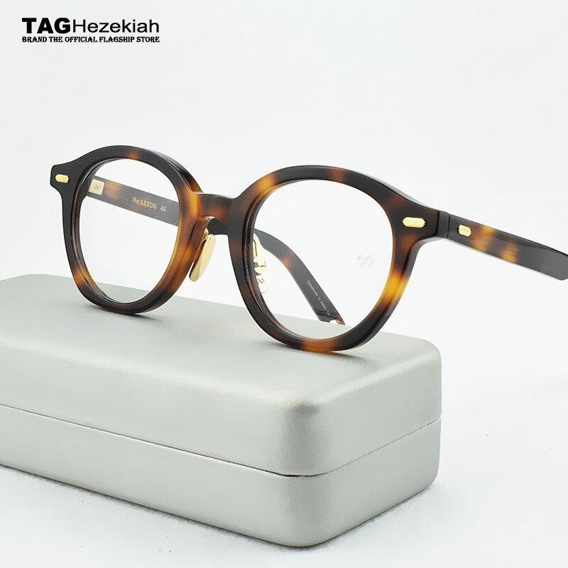 Occhiali di marca telaio donne Retro rotondo di Vetro del Telaio uomini 2019 computer di miopia Epoca Fatti A Mano del progettista montatura per occhiali 46-23- 143