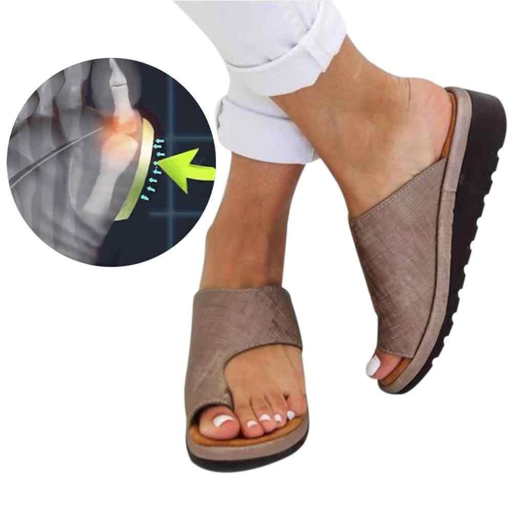 Puimentiua Kadın Sandalet Düz Taban Rahat Yumuşak Ayak Ayak Düzeltme Slippres Ortopedik Bunion Düzeltici